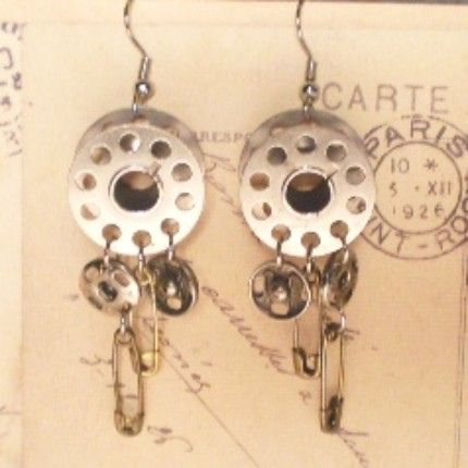 Sew In Love Vintage Bobbin Earrings by arieltelsa, via Flickr