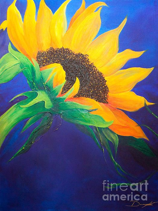 Acrylic art sunflower art art prints for sale aps for How to paint sunflowers in acrylic