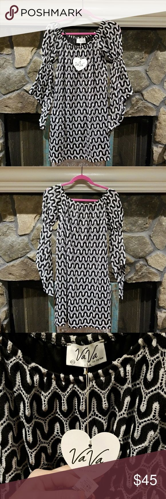 VaVa by Joy Han Boho Crochet Dress XS VaVa by Joy Han Boho Crochet Dress, size XS. This fun patterned black & white dress is great for a night out or even a formal summer wedding! New condition w/tags. Purchased at a boutique & has been hanging in my closet ever since waiting for the perfect night to dance the night away but it just didn't happen, SAD....so now it's up to you to give it life!?? Vava by Joy Han Dresses Mini