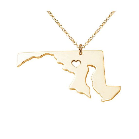 Gold MD State Shaped Necklace,Maryland State Necklace,MD State Charm Necklace Personalized MD Necklace,Gold State Necklace With A Heart