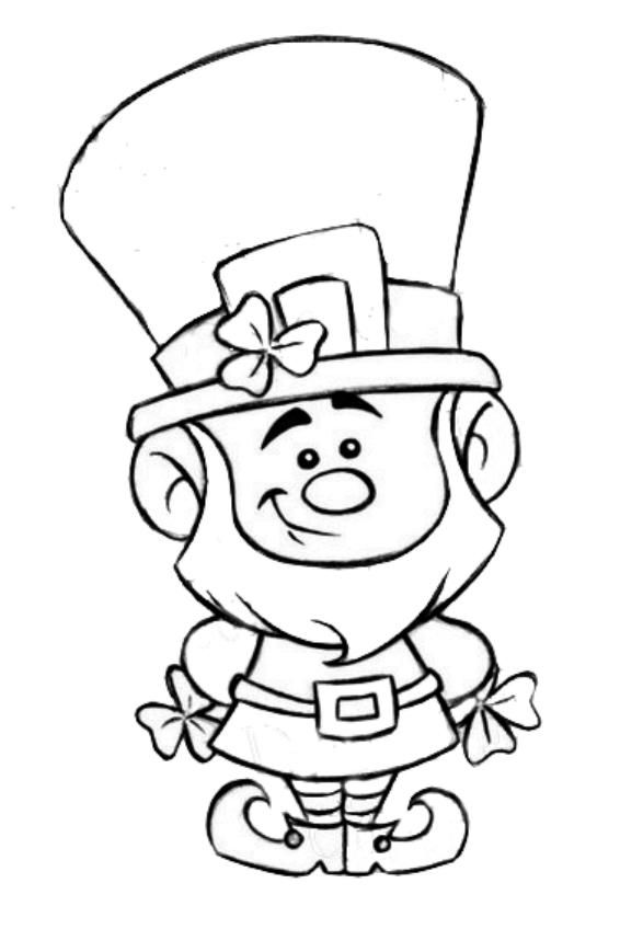 St Patrick S Day Leprechaun Coloring Page With Images St