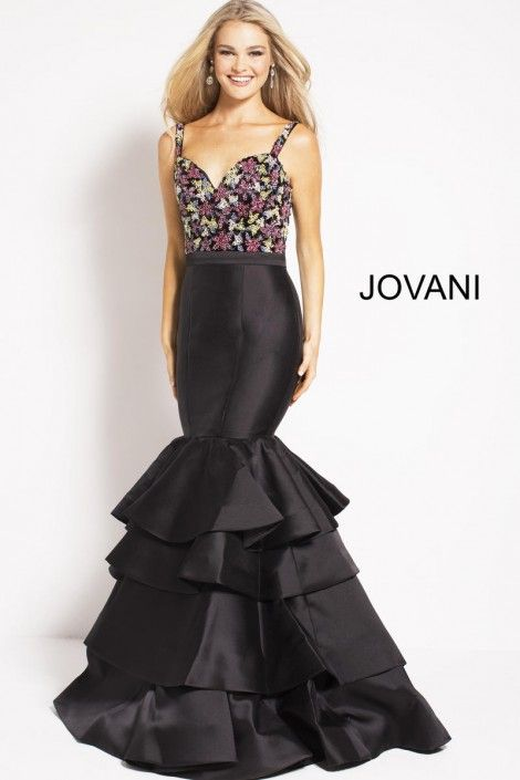 af6fbbd79e0 Style 48127 from Jovani is a sweetheart mermaid prom gown with floral  embellished bodice and tiered skirt.