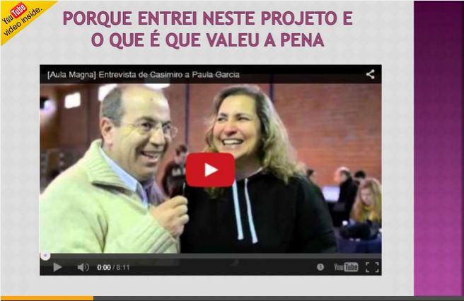 Já viste o meu novo SlideShare?  Espreita aqui http://www.slideshare.net/paulavgarcia/porque-entrei-neste-projeto-e-o-que-que-valeu-a-pena a entrevista com o meu amigo Casimiro que me perguntou o que é que valeu a pena desde que entrei para este projeto