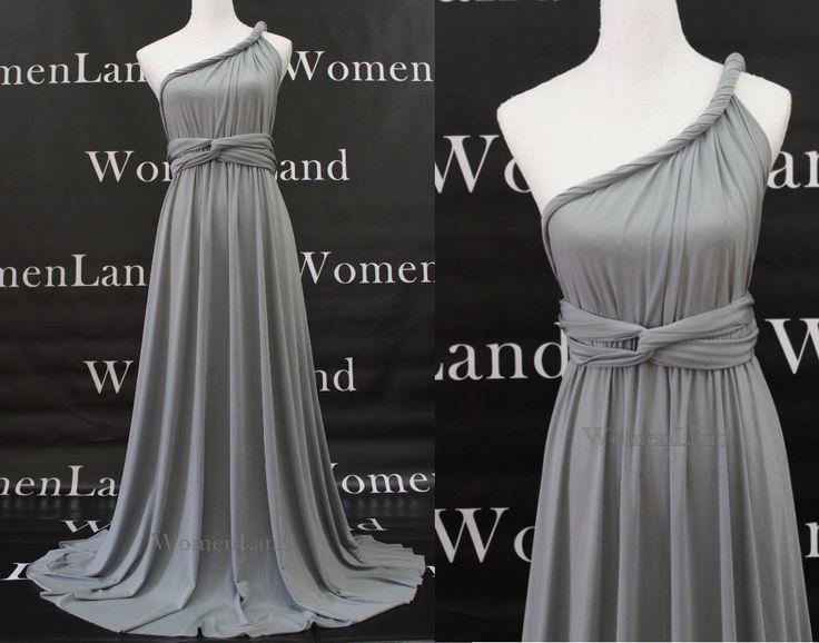 Gray Floor Length Infinity Dress Convertible Wedding Bridesmaid Evening Party Prom Dress Plus Size Woman Dresses. $88.00, via Etsy.