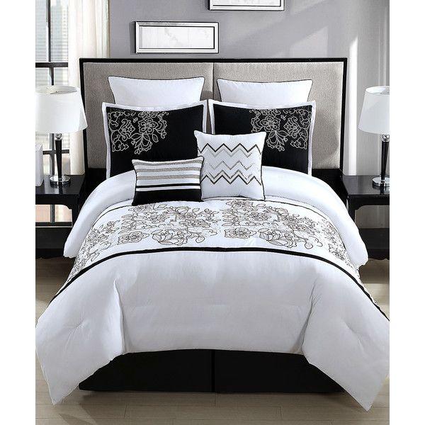 Platinum Blue White & Black Saldana Eight-Piece Comforter Set ($75) ❤ liked on Polyvore featuring home, bed & bath, bedding, comforters, cal king comforter, king bed comforter set, california king comforter sets, king comforter and california king size comforter set