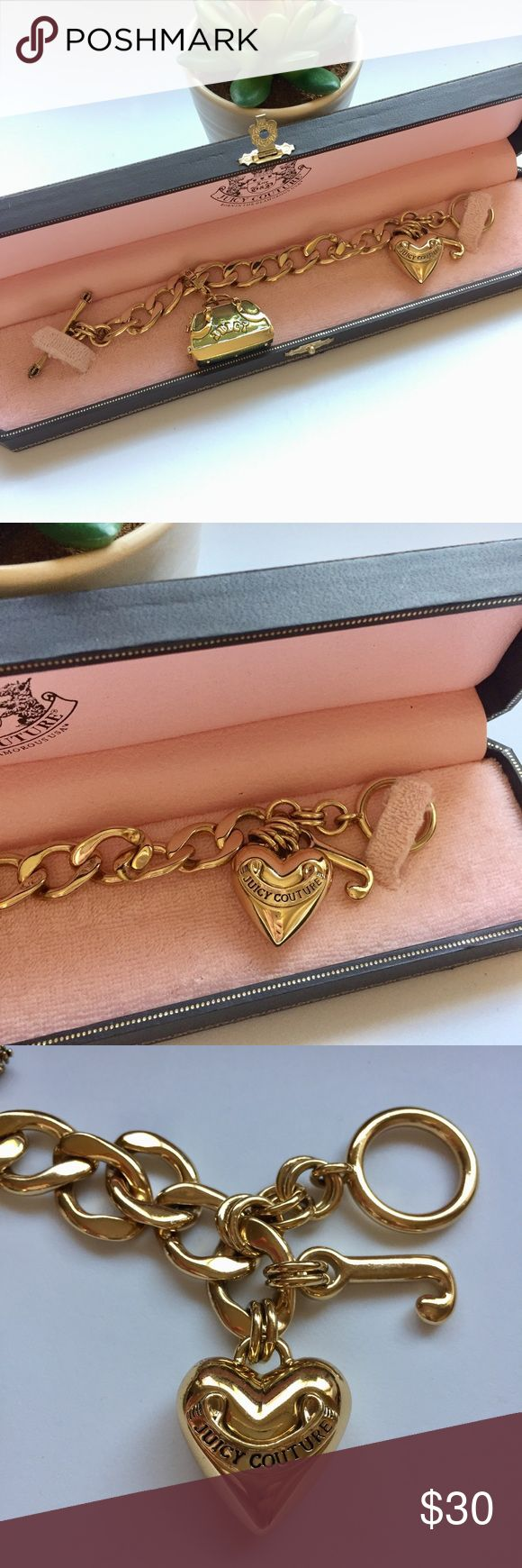 "Juicy Couture • Starter Charm Bracelet Brand new authentic Juicy Couture starter charm bracelet, the signature core of the Juicy Couture jewelry line comes complete with a heart charm at the end. Length: 7.5"". Toggle closure. 14k plate on solid brass. Includes a Juicy long gift box with velvet cushion. Bag charm is listed for sale in my closet. Juicy Couture Jewelry Bracelets"