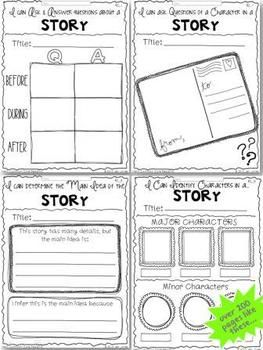 200+ new, fresh and original reading response sheets and graphic organizers for every CCSS.ELA.RL.1-10 {K-2}. A year's worth of literacy resources by Hello Literacy.