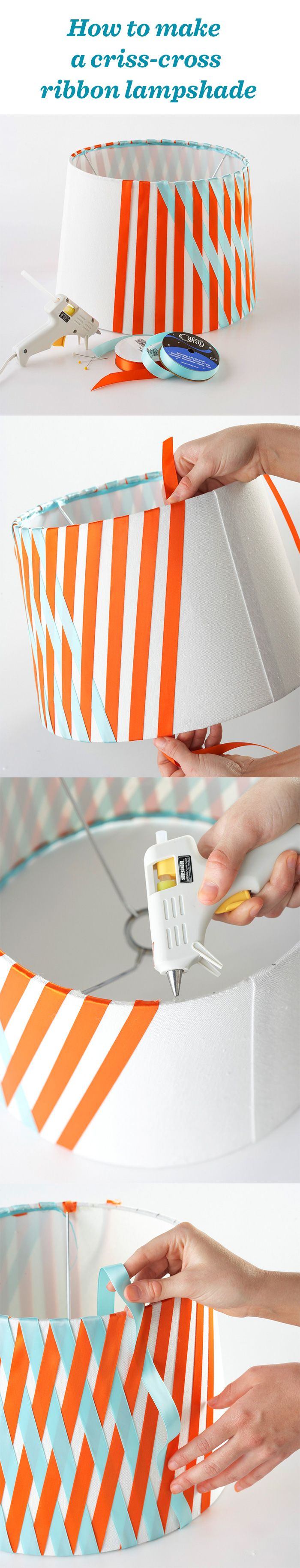 How to make a criss-cross ribbon lampshade and more easy no-sew ribbon projects: http://www.midwestliving.com/homes/decorating-ideas/no-sew-ribbon-projects/