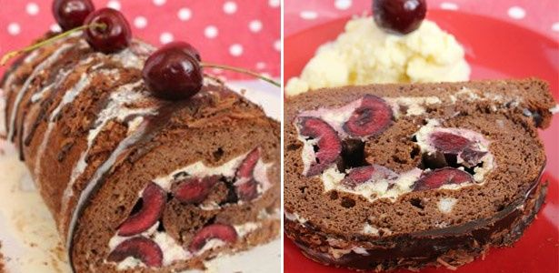 Flourless chocolate cherry Swiss roll