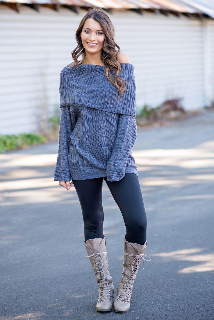 Made To Love Knit Fold Over Oversized Sweater (Charcoal) - NanaMacs.com - 3
