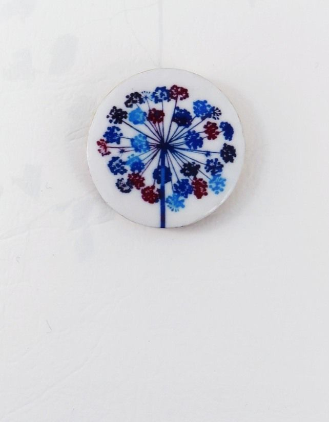 Round, wooden, delicate flower, seedhead brooch