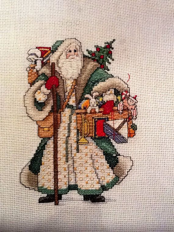 Cross stitch handmade items for sale EmporiumHouse -Counted cross stitch Santa in green suit on Etsy