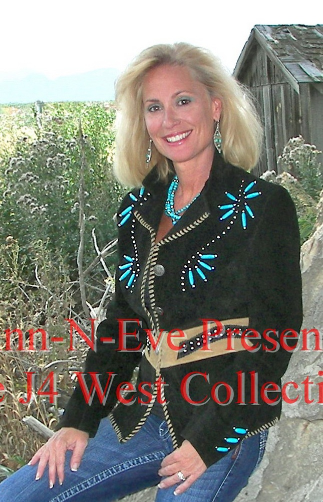 Black Suede Short Western Jacket looks stunning with the Turquoise beads, Cognac accents and studs all around the front and the cuffs. The Cognac Suede accent around the waistline is very flattering when combined with the stiching in the front. It closes with buttons. This J4West ladies Western Wear Jacket is a must for every women's western clothing wardrobe to wear with our Gauchos, Skirts or even Black Palazzo pants for a Formal Western Wear event or just your Jeans. It comes in Plus…