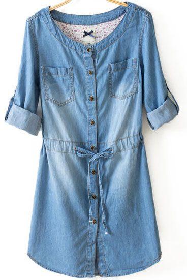 Blue Long Sleeve Bleached Drawstring Denim Dress - Fashion Clothing, Latest Street Fashion At Abaday.com