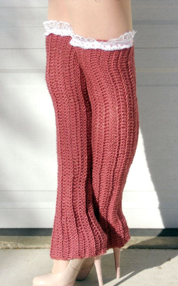 Free Crochet Pattern Thigh High Leg Warmers : Thigh high dusty rose lace ribbed crochet dance trendy leg ...