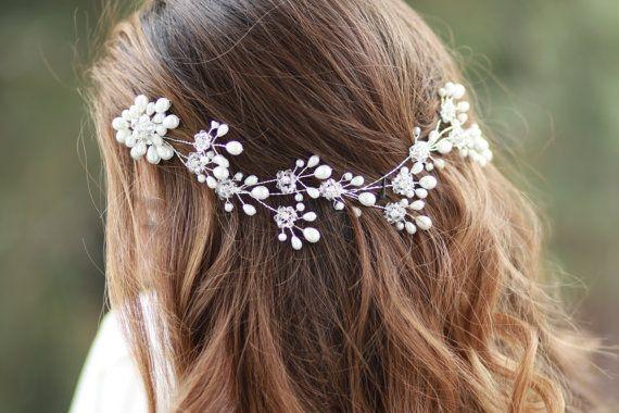 Bridal headpiece,adjustable hair tiara hair piece,wedding hair clip,prom head piece,bridesmaid headband,wedding headband,glass pearl tiara  --- --- ---