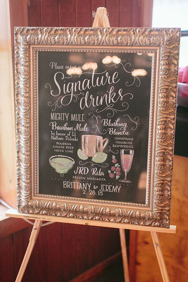 Chalkboard and Calligraphy Signature Cocktail Menu   Jessica Gold Photography   Vintage Chic Pink and Gold Glitter
