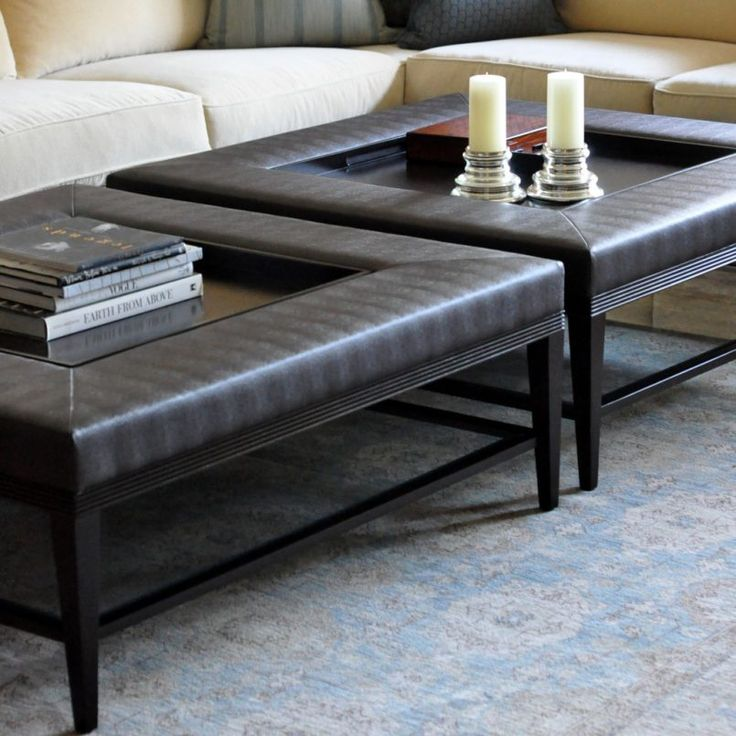 Square Coffee Table #leathercoffeetables Living Room Design  #coffeetabledesign Leather Design #decoratingideas Leather Table