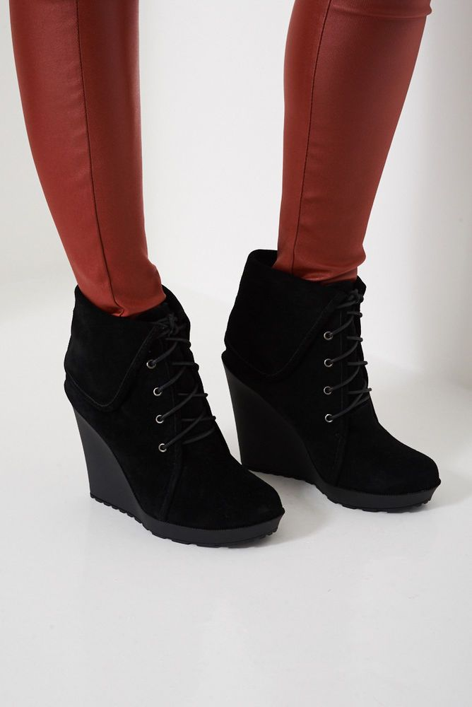 NEW Womens Wedge Heel Chunky Cleated Platform Ladies Leather Ankle Boots Shoes