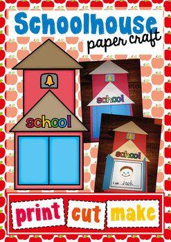 Schoolhouse Craftivity - Back to School Print Cut Make Draw $