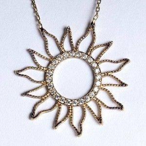 Güneş modelli, 925 ayar gümüş bayan kolyesi