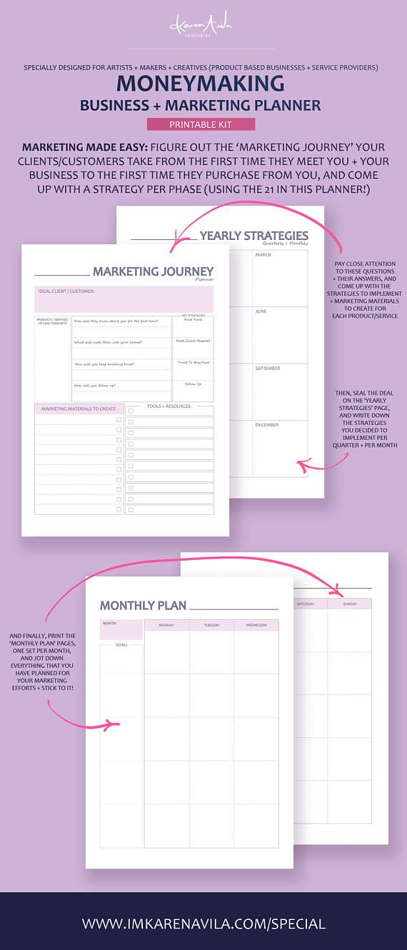 Create your Marketing Plan + your Business Plan with this Printable Planner. And make it unique by mix-matching 21 different marketing strategies ;) #business #onlinebusiness #marketing #marketingstrategy #blogger #etsyseller #marketingblog #businessplan #marketingplan #fashionblogger #foodblogger #etsyshop #sellingonline #artist #entrepreneur
