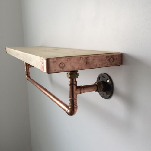 Handcrafted Copper Pipe Shelf With Hanging Rail Industrial Modern Rustic | eBay