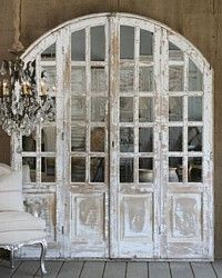Love it!   French Garden House Vintage Shabby White Chateau Mirrored Arch Door Set