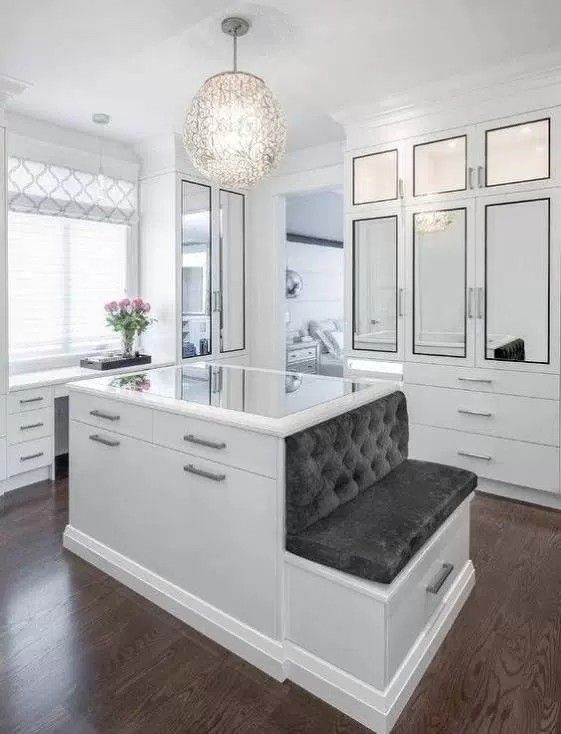 Dressing Room Master Closet Center Island Natural Light Bench Mirrored Cabinets Housie