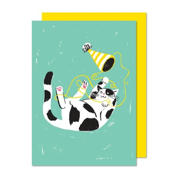 Chat taquin. Cat. Carte de souhaits.  Greeting card