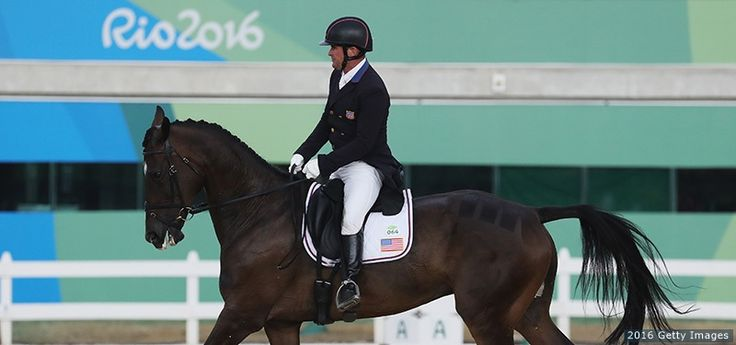 Phillip Dutton rides Mighty Nice in the eventing team dressage event at the Rio 2016 Olympic Games at the Olympic Equestrian Centre on Aug. 7, 2016 in Rio de Janeiro.
