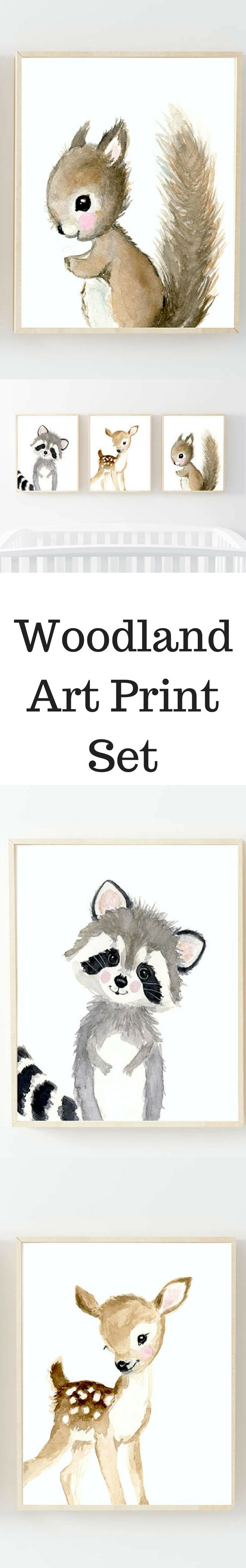Nursery woodland Print Set 3, Neutral Nursery Art , Nursery Decor, Kids Wall Art, nursery art,squirrel, fox painting, baby woodland animals #afflnik
