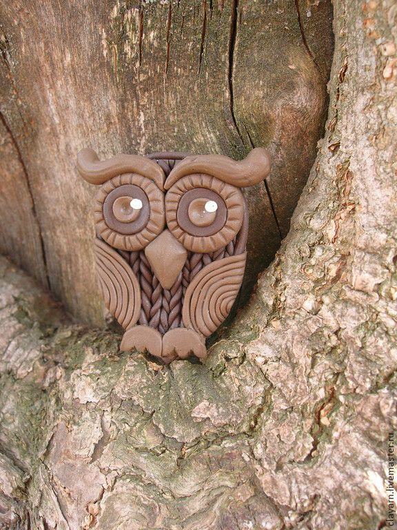 Wise Owl - polymer clay brooch Брошь Сова из полимерной глины - бижутерия ручной работы,сова,совушка