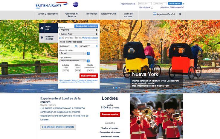 British Airways Large image behind search box