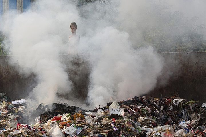 Rubbish is burnt in the street, Hangzhou Bay. According to a recent report on China's oceans, Hangzhou Bay is one of the most polluted coastal areas in China, though there is no specific information on hazardous chemicals