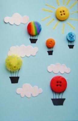 Tapa álbum escolar original. Dibujar el cielo y globos con botones                                                                                                                                                     Más