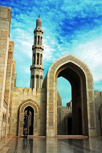 Grand Mosque, Muscat, Oman. I love the unnecessarily large archway leading into a holy space. It suggests to me that one is about to be a part of something bigger than themselves.