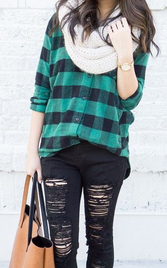 buffalo plaid shirt, skinny ripped jeans, infinity scarf, casual fall outfit