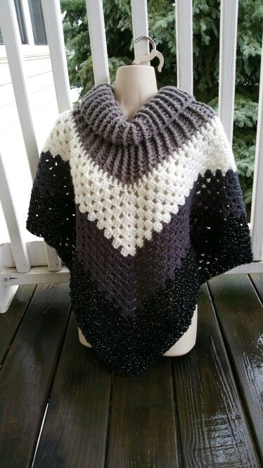 Hot Off My Hook! Project: Cowl Neck Poncho Started: 23 Nov 2015 Completed: 25 Nov 2015 Model: Madge the Mannequin Crochet Hook(s): 7mm, Cowl portion, K, Granny Stitch portion Yarn: I LoveThis Yarn, RedHeart Super Saver Color(s): Greybeard, Soft White, Charcoal, Black Sparkle Pattern Source: Simply Crochet Magazine, Issue No. 25 (Hard Copy) Pattern Designed By: Simone Francis Notes: This is my 54th Cowl-Neck Poncho. I plan to remake this one. I'm not happy with my color placement.