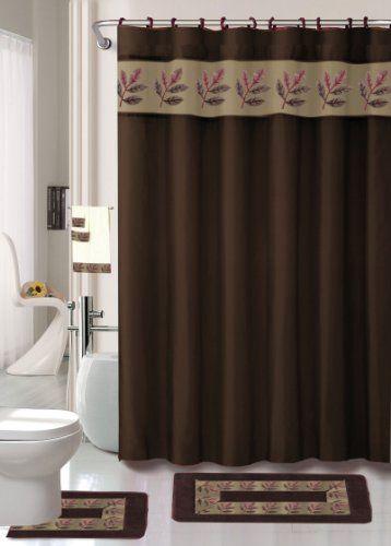 Oakland Coffee 18 Piece Bathroom Set: 2 Rugs/mats, 1