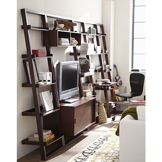Sloane Java 18 Leaning Bookcase With Desk And Media Console Crate Barrel Home Offices
