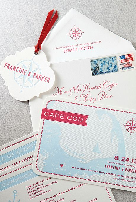 """Brides.com: Invitations and Stationery for a Destination Wedding. A Letterpress Save-the-Date Card for a Cape Cod Destination Wedding. """"Sausalito"""" save-the-date suite, starting at $621 for a set of 100 save-the-dates, Dauphine Press  See more preppy wedding invitations and stationery."""
