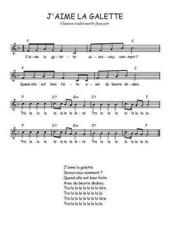 Téléchargez la partition gratuite de la chanson J'aime la galette, Comptine traditionnelle française avec accords de guitare. Chanson traditionnelle