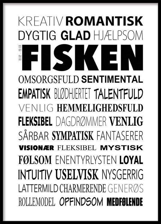 Fisken Plakat - Tekstcollage med stikord