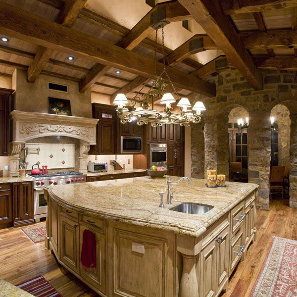 I Love Stone And Wood In A Kitchen But I Would Just A Brighter Color  Pallet. Old World ...