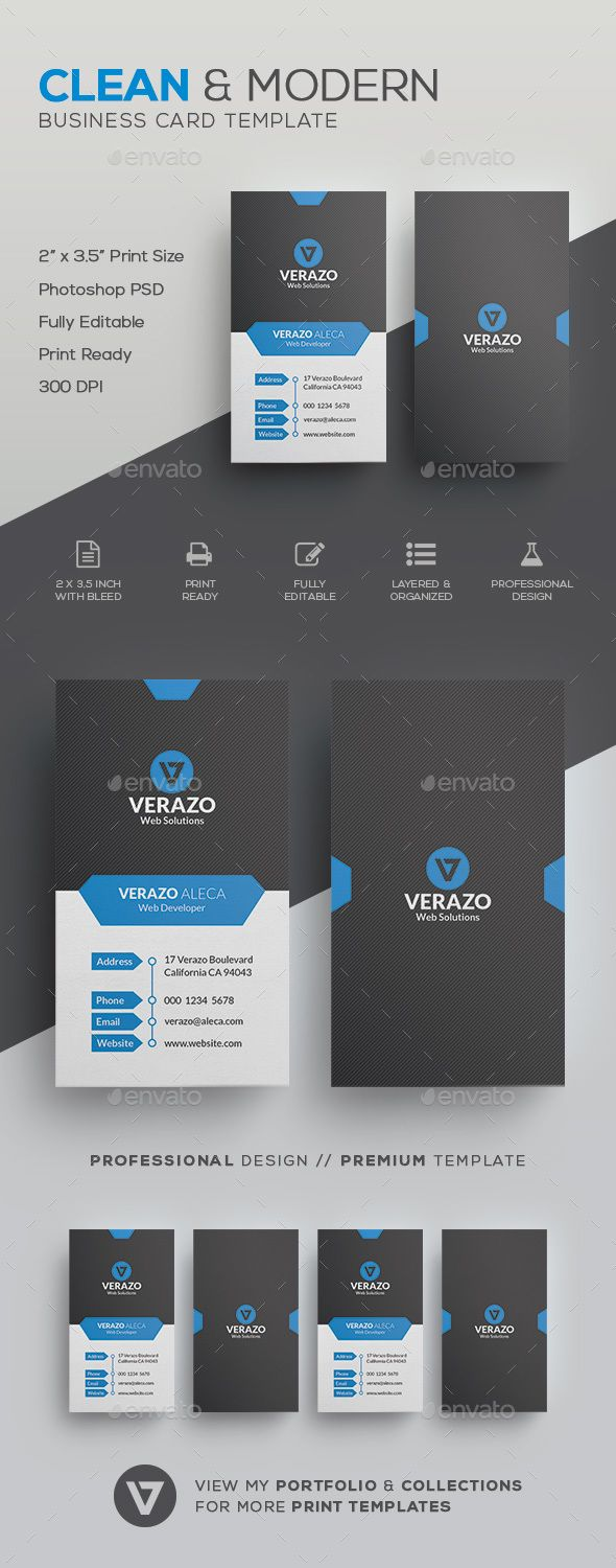 Clean Vertical Business Card Template by verazo Need more high quality business card? View my Business Card Templates Collection OR Save Money! Buy Business Card Bundle for only