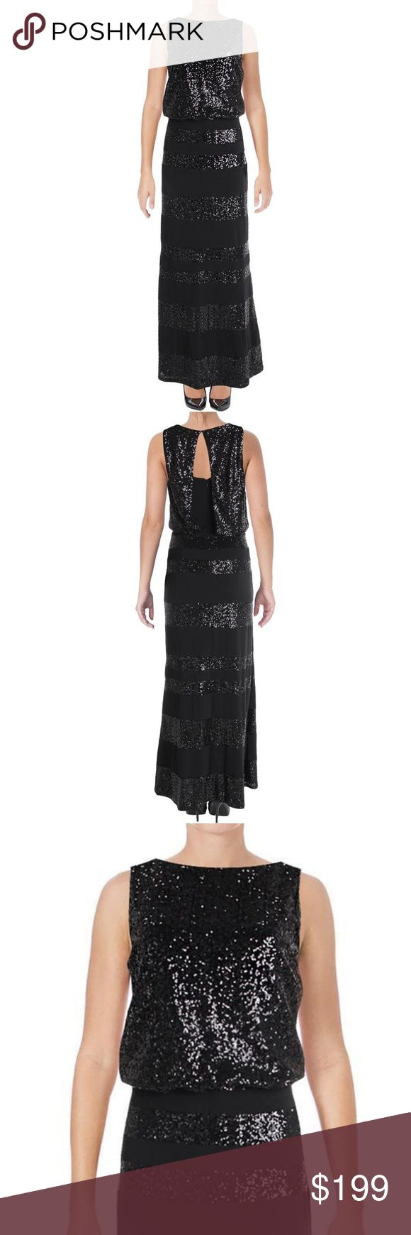 NWT Lauren Ralph Lauren Long Black Sequin Dress NWT Lauren Ralph Lauren Stunning Marcelina Long Black Sequined Formal & Special Occasion Sleeveless Dress. An elegantly draped bodice & a floor-length skirt define the modern glamour of this evening-ready gown from Lauren Ralph Lauren. Allover sequin embellished top with a semi-opened back that flows effortlessly down your back on this shimmering sequined gown. The bottom portion is designed with sequin stripes.   Concealed center back zipper…