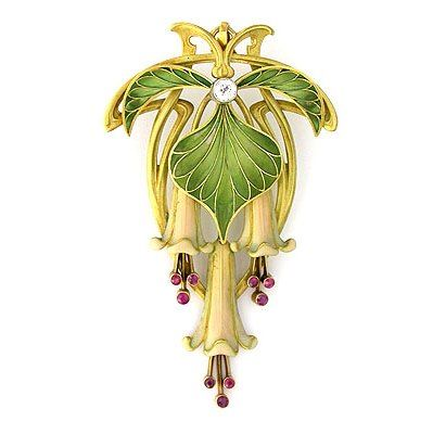 Diamond, ruby, plique-à-jour enamel and gold brooch.