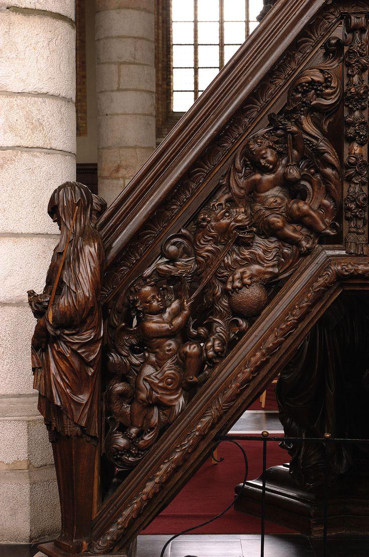 Poperinge, West-Vlaanderen, Sint-Bertinuskerk, pulpit, stairway, southwest | by groenling