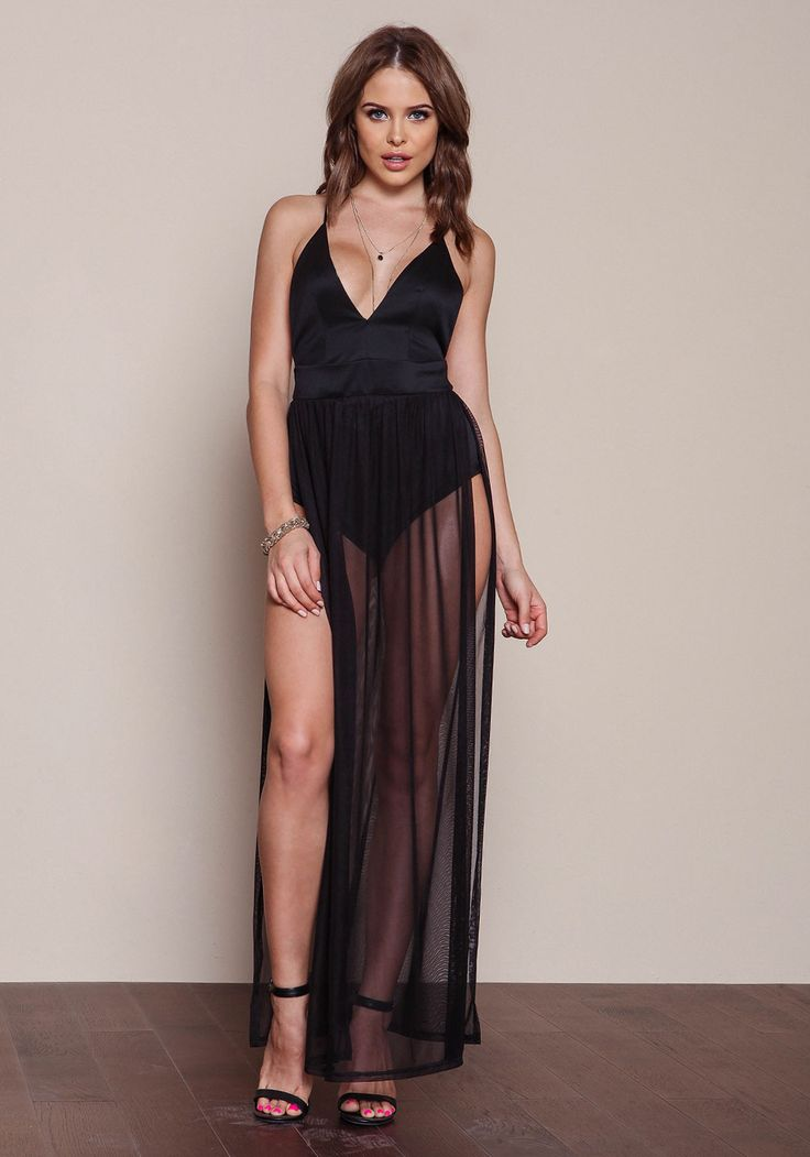 Black Mesh Bodysuit Maxi Dress - Love Culture